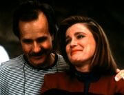 Kate Mulgrew with long hair and Winrich Kolbe