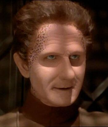 """Odo as Curzon Dax during Jadzia's <i>zhian'tara</i> (<a href=""""/wiki/2371"""" title=""""2371"""">2371</a>)"""