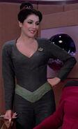 Troi gray unitard with pointed neckline