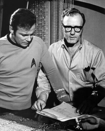 """On the set with <a href=""""/wiki/William_Shatner"""" title=""""William Shatner"""">William Shatner</a> in <a href=""""/wiki/1968_(production)"""" title=""""1968 (production)"""">1968</a>"""
