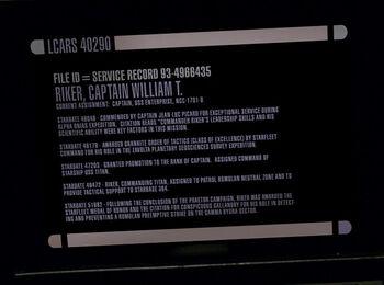 Starbase 384 in Riker's service record