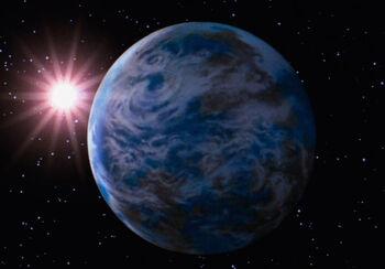 Genesis planet from orbit
