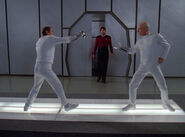 Riker interrupts fencing