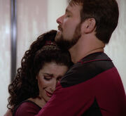 Troi and Riker say farewell