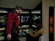 Riker and La Forge look at the probe, remastered