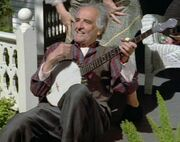 Caretaker with banjo