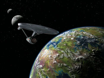 "The Enterprise in orbit of ""Eden"""
