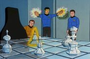 Spock moves a chess piece with magic