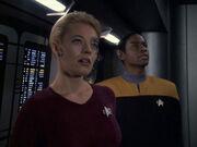 Seven and Tuvok discuss graviton ellipse