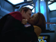 Tom Paris kisses B'Elanna Torres