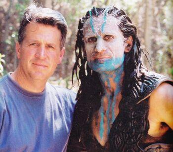 "Steve Blalock as a Novan with Stunt Coordinator <a href=""/wiki/Vince_Deadrick,_Jr."" title=""Vince Deadrick, Jr."">Vince Deadrick, Jr.</a> on the set of ""Terra Nova"""