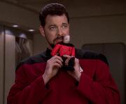 Riker imitates Picard