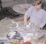 Galaxy class USS Enterprise-D studio model build cast secondary hull assembled by Bill Concannom