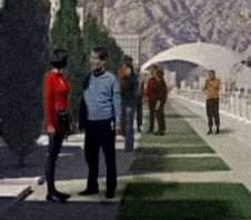...as a Starfleet officer (center behind)