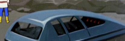 Blue hovercar