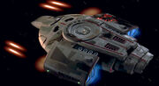 USS Defiant firing phaser cannons, 2373