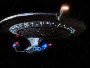 USS Enterprise-D and Angosian vessel