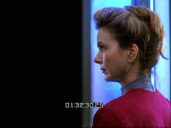 """Freeman as split-screen photo double for Kate Mulgrew in """"Deadlock"""""""