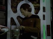 Data investigates Borg alcove