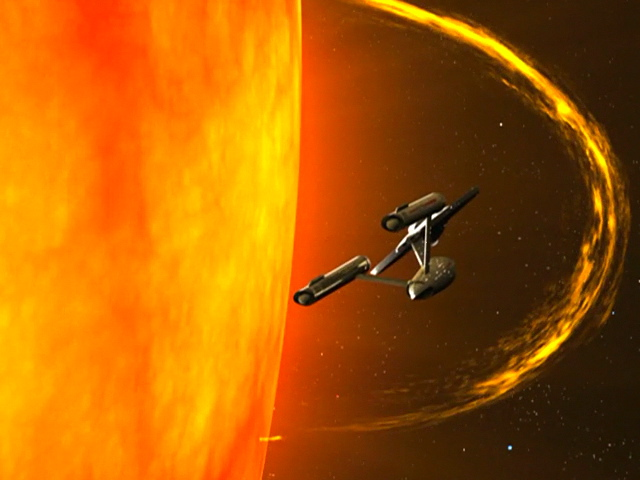 USS Enterprise skims near Sol