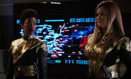 Burnham and Tilly dressed in Terran uniforms