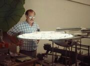 Ron B. Moore inspecting the Excelsior class studio model