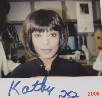 "Kathy on a continuity polaroid from TNG ""Descent"""
