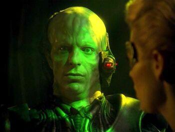 """Magnus Hansen as a <a href=""""/wiki/Borg_drone"""" title=""""Borg drone"""">Borg drone</a> (2375)"""