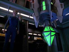 Seven and The Doctor look at the Borg vinculum