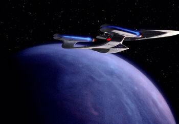 The Enterprise-D entering orbit of 'aucdet IX