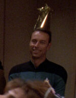 Science officer at surprise party