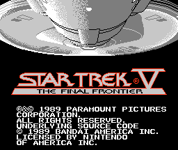 Star Trek V: The Final Frontier (NES) title screen