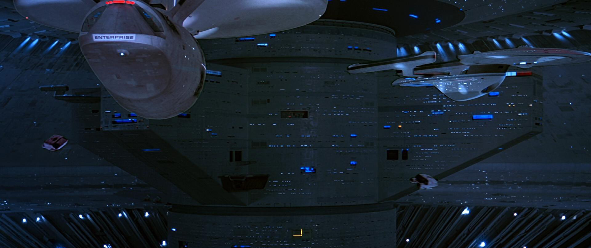 USS Enterprise and USS Excelsior in Spacedock