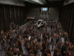 Class 2 shuttle surrounded by Klingons