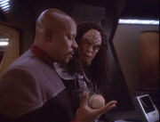 Sisko and Martok discussing the Dominion War, 2374