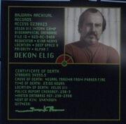 Dekon Elig, death certificate