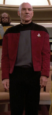 Jean-Luc Picard wearing captain's jacket
