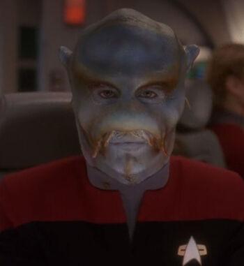 ...as Hoya, a Benzinite Starfleet officer (1996)