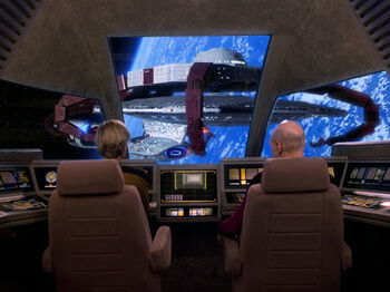 Yar and Picard in the cockpit