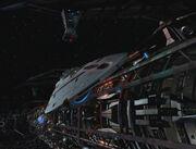 USS Voyager departs Varro generational ship