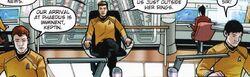 Countdown to darkness, Chekov, Kirk et Sulu sur la passerelle