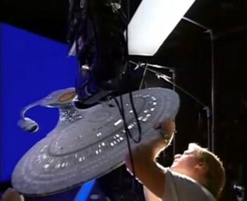 """&hellip;and setting up the <a href=""""/wiki/Galaxy_class_model"""" title=""""Galaxy class model"""">Galaxy class model</a> for filming after its refurbishment for the same film"""