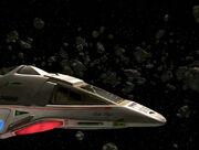 Delta Flyer II in an asteroid field
