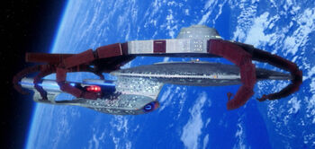 "<a href=""/wiki/USS_Enterprise_(NCC-1701-D)"" title=""USS Enterprise (NCC-1701-D)"">USS <i>Enterprise</i>-D</a> docked at Earth Station McKinley"