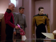 Picard, Spock, and Data in Sela's office