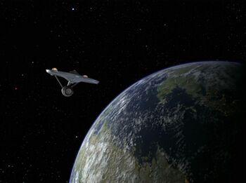USS Enterprise in orbit of Sigma Iotia II