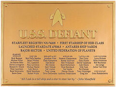 Eaglemoss USS Defiant dedication plaque