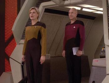 Captain Picard and Tasha Yar disembarking the <i>Galileo</i>