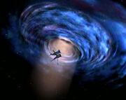 Akorem's lightship exits wormhole