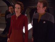 Julian Bashir, Kira Nerys, and Miles O'Brien, 2375